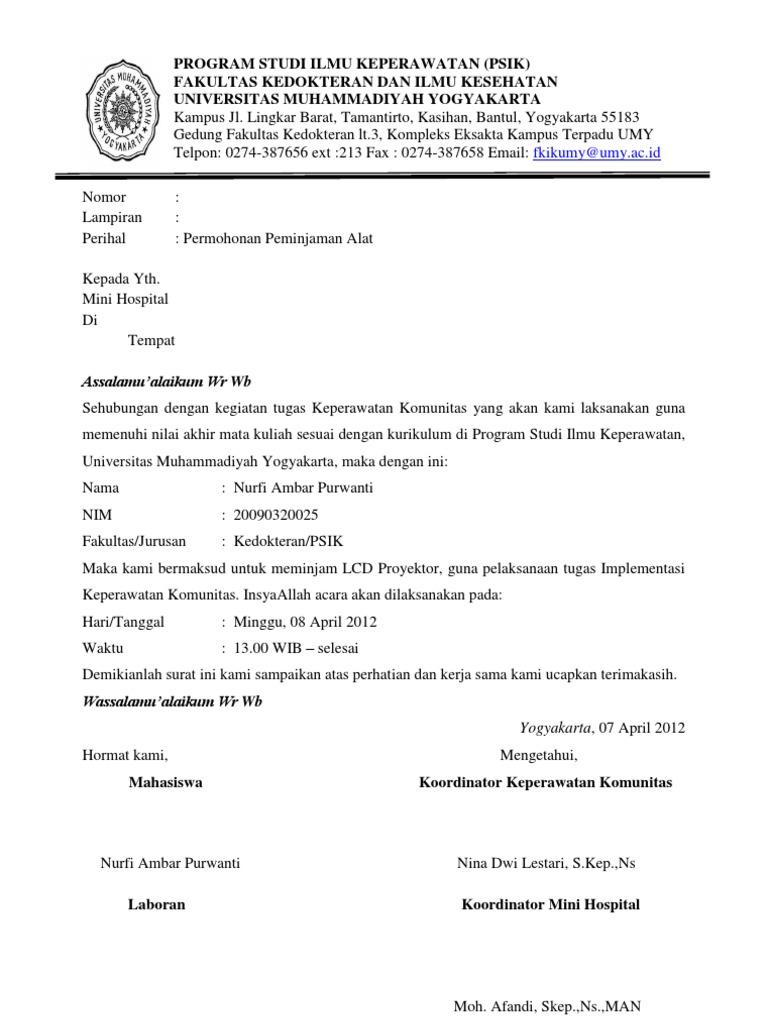 Surat Permohonan Peminjaman Alat