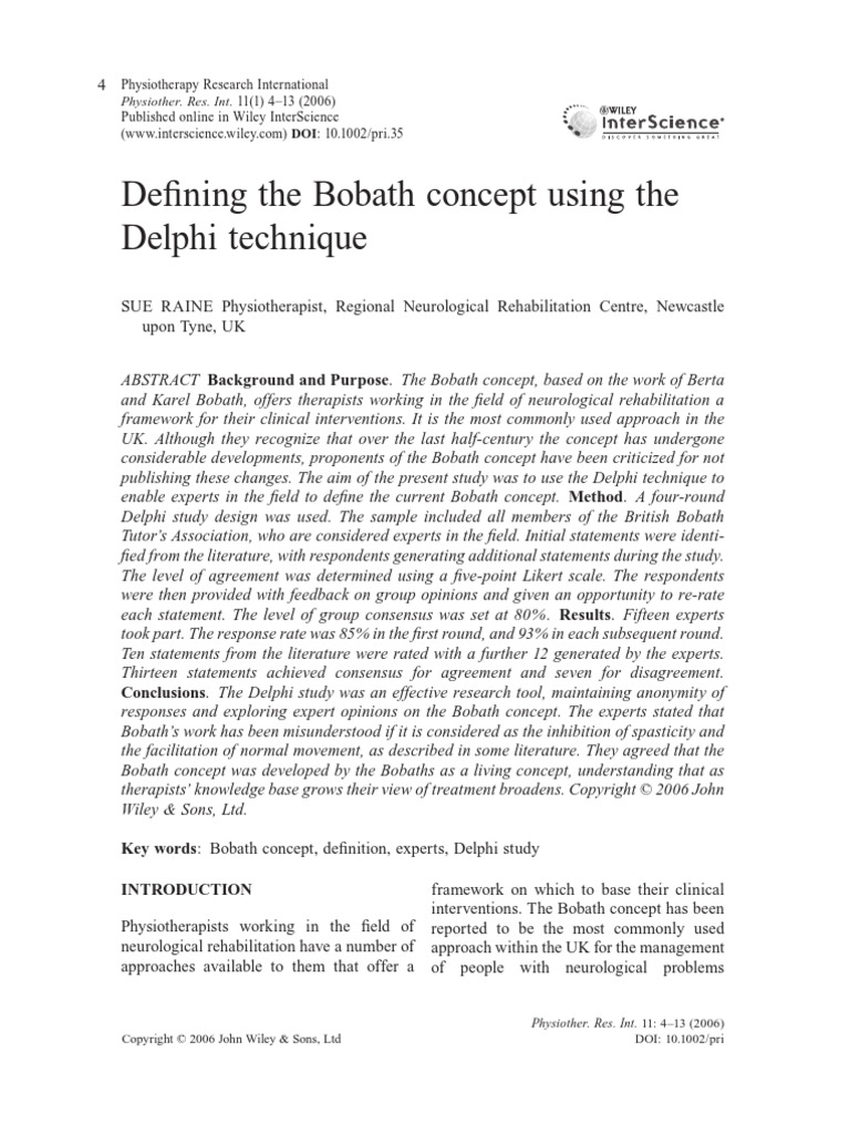 Defining Bobath Concept Physical Therapy Consensus Decision Making