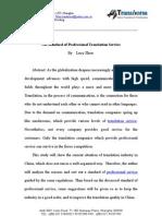 On Standard of Professional Translation Service
