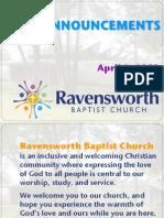 Ravensworth Baptist Church Announcements, 4/8/12