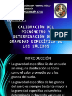 CALIBRACIÓN DEL PICNÓMETRO Y DETERMINACIÓN DEL PESO ESPECÍFICO