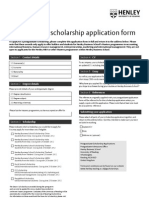 Henley Business School PG Scholarship Application Form 2012