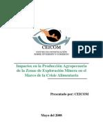 Impactos en la Producción Agropecuaria de la Zonas de Exploración Minera en el Marco de la Crisis