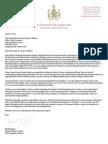 Gov. O Malley Letter Budget