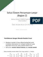 Solusi Sistem Persamaan Lanjar (Bag 2)