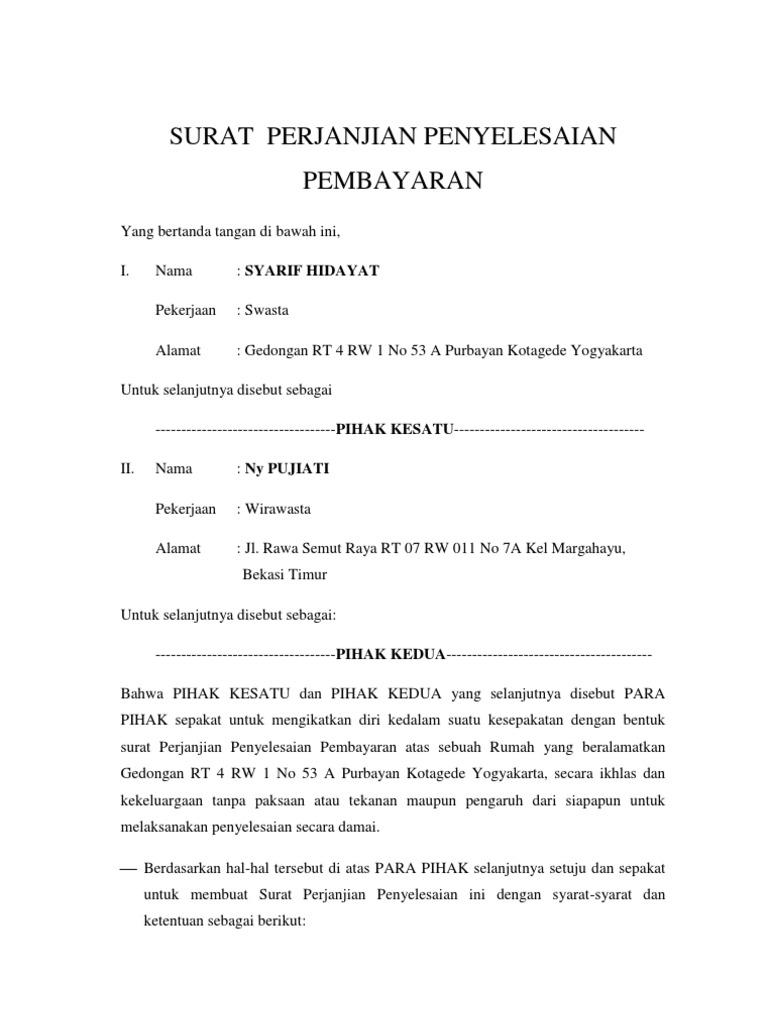 Contoh Surat Hutang Piutang Sederhana Suratmenyuratnet
