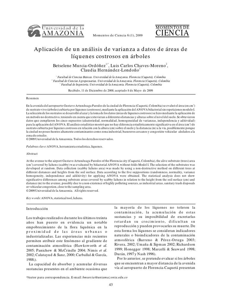 Aplicación de un análisis de varianza a datos de áreas de líquenes ...