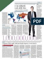 Corriere della Sera - Facebook spende un miliardo per il social network delle foto