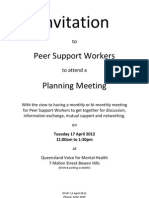 Peer Support Workforce Qld Australia - Invitation