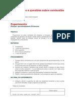 Experimento e questões sobre combustão e energia