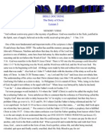 LESSON 3 - BIBLE DOCTRINE - DEITY OF CHRIST