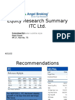 Equity Research Summary-ITC