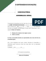 Minuta para Convocatoria Assembleia Geral - Orgãos Sociais Eleições