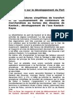 Mémorandum sur développement Port de Kaolack