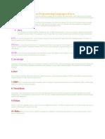 Top 10 Programming Languages of 2011