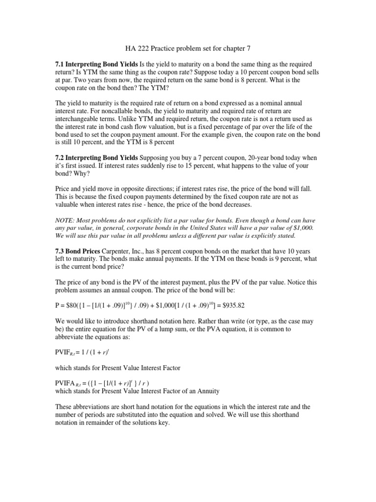 HA 222 Finance Practice Prob Chap 7 | Bonds (Finance) | Yield (Finance)