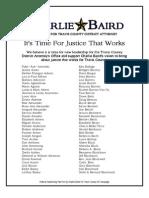 Charlie Baird Supporter List, Revised April 11, 2012