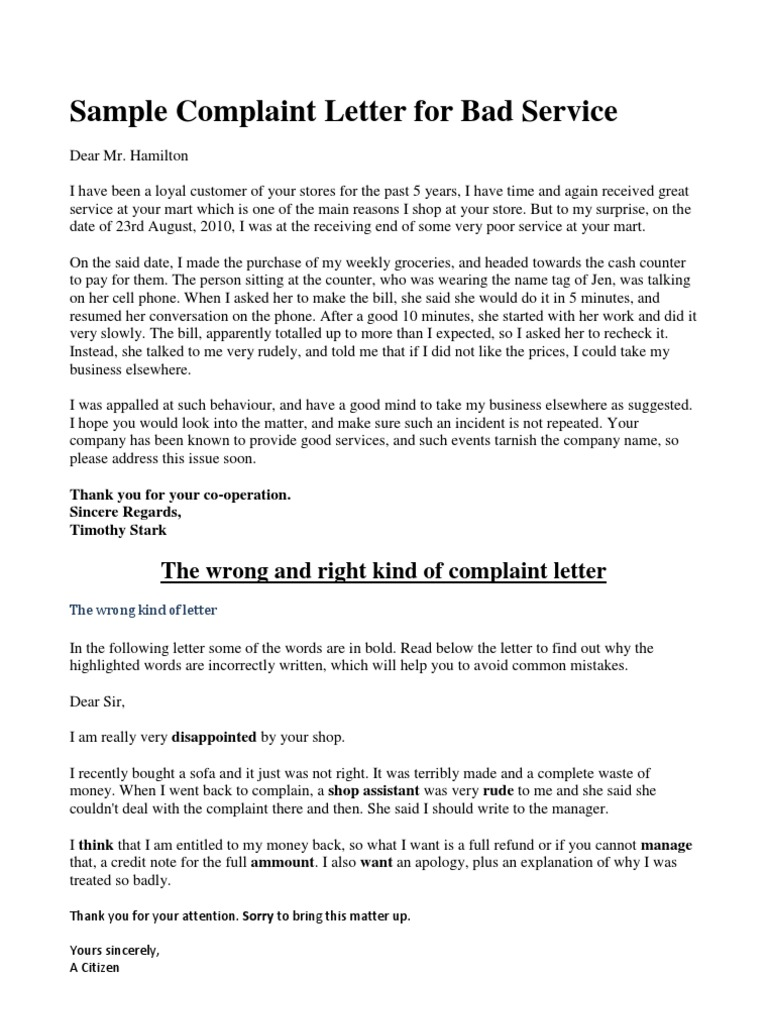 Sample complaint letter for bad service spiritdancerdesigns Choice Image