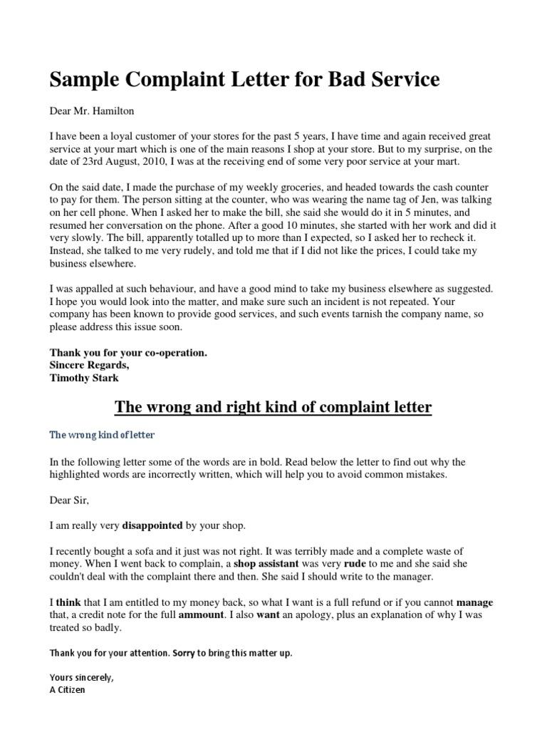 Sample Complaint Letter For Bad Service  PDF  Retail  Goods