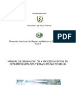 MANUAL DE ORGANIZACIÓN Y PROCEDIMIENTOS EN REGISTROS MÉDICOS Y ESTADÍSTICAS DE SALUD cuba