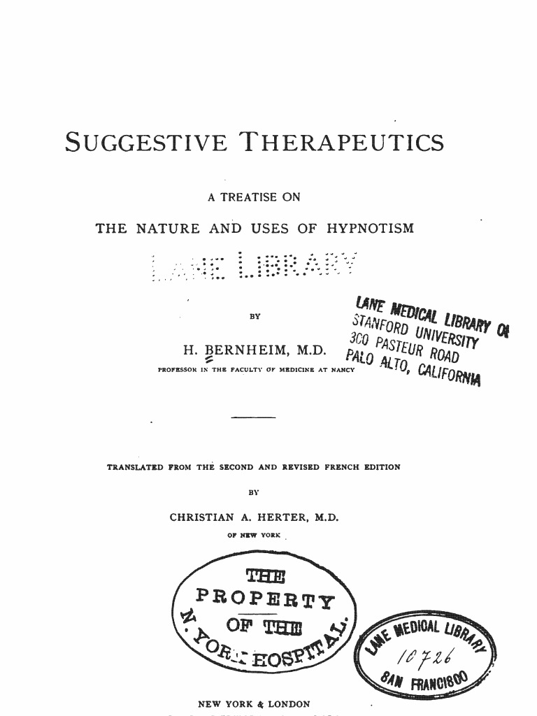 1889 Berheim Suggestive Therapeutics A Treatise On The Nature And  # Muebles Pubal Lieres