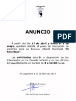 Inscripcion Escuela Infantil Municipal Lagartera