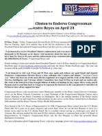 Press Release President Clinton Endorses Reyes
