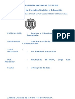 74457714 Analisis De Pedro Paramo Narración Novelas