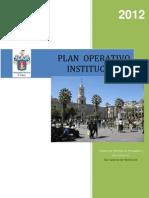 POI - PLAN OPERATIVO INSTITUCIONAL 2012 (incluye presupuesto) - Municipalidad Provincial de Arequipa