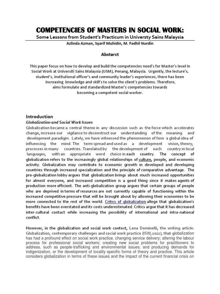 Competencies of Masters in Social Work | Social Work (12 views)