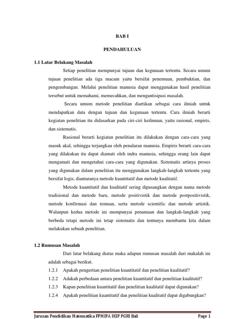 Metode Penelitian Kuantitatif Dan Metode Penelitian Kualitatif