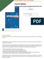 Crystallization, Fourth Edition