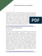 Quadro de Professores Curso de Letras Campo Grande
