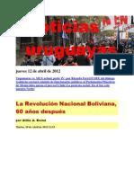 Noticias Uruguayas Jueves 12 de Abril de 2012