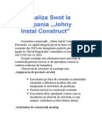 Analiza Swot La Compania Johnz Instal Contruct SA