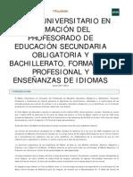 Master Formacion Profesorado ESO Bachillerato FP