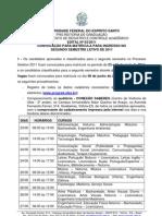 Edital nº 03-2011 Matrículas Segundo Semestre
