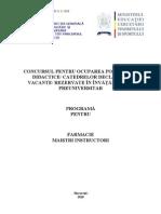 Farmacie Programa Titularizare 2010 M