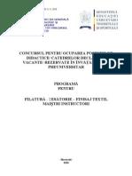 Filatura Tesatorie Finisaj Textil Programa Titularizare 2010 M