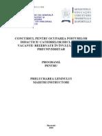 Prelucrare Lemn Programa Titularizare 2010 M