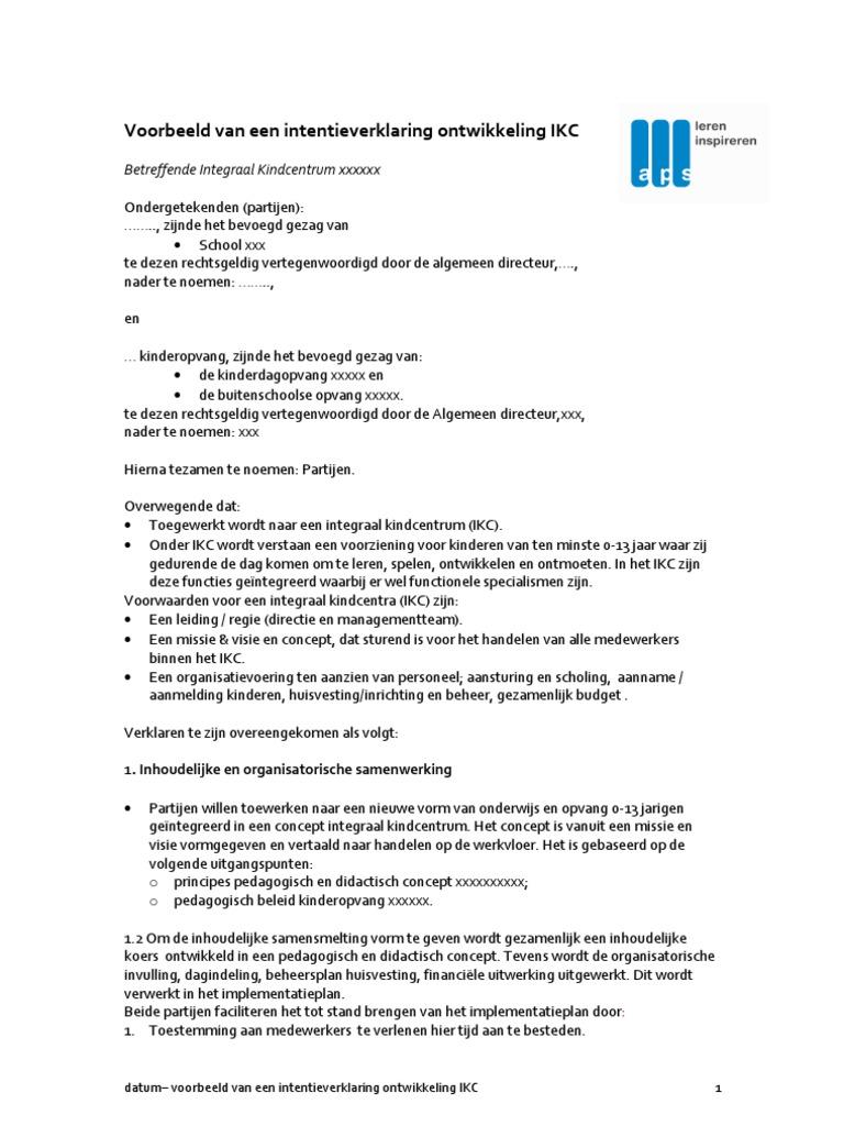 intentieverklaring samenwerking voorbeeld Voorbeeld Intentieverklaring Ontwikkeling IKC