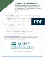 Requisitos Para Participar en Los Programas de USDA