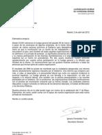 Carta de agradecimiento de Toxo (CCOO) a EeM