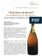 """""""The King Of Wines"""" A 1774 Bottle Of Vin Jaune To Be Offered At Christie'S Geneva On May 15"""