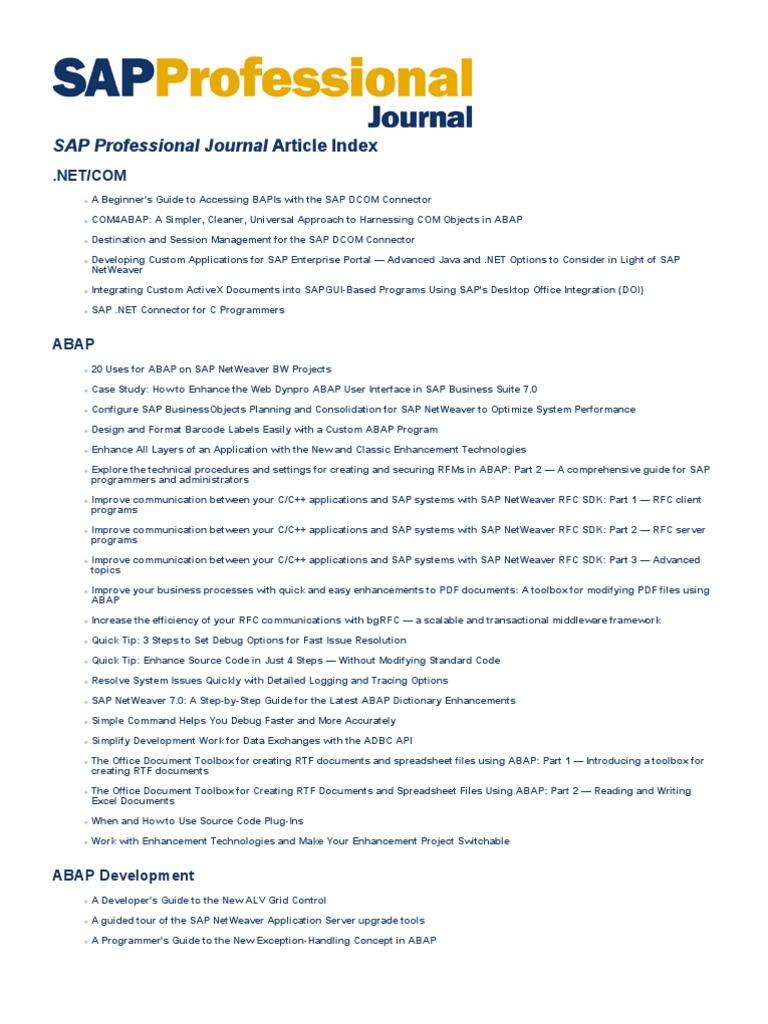 Article Index | Sap Se | Databases