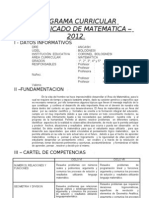 Programa Curricular 2012 MATEMATICA