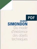 Simondon Du Mode de l'Existence Des Objets Techniques