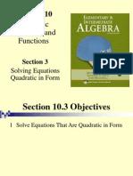 Seia2e_1003 10.3 Solving Equations Quadratic in Form