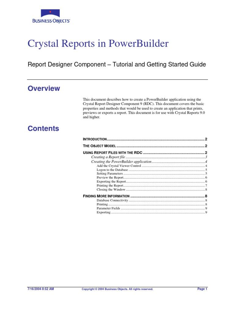Crystal Reports in PowerBuilder  Rdc9_powerbuilder | Library