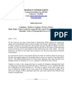 Press Release PUP Caucuses and Arms in Support of Party Leader Francis Fonseca